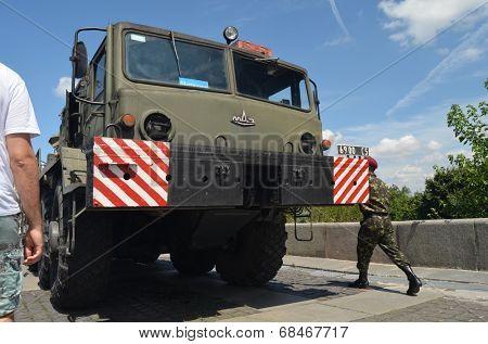KIEV, UKRAINE - JULY 13, 2014. Weapon of the Civil War in Ukraine. July 13, 2014 Kiev, Ukraine