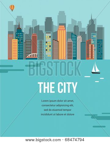 The City - vector background with buildings