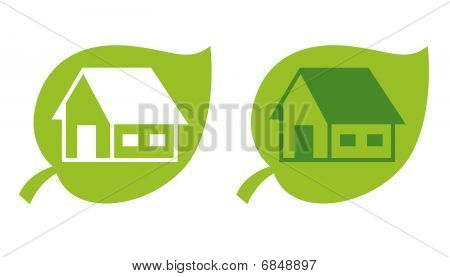 A green leaf With a House