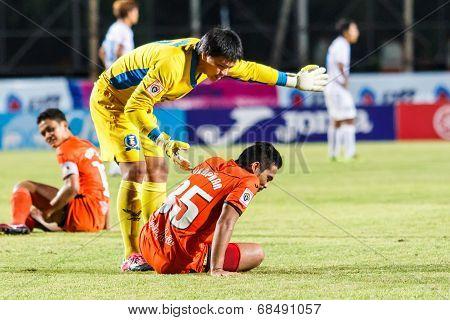 Sisaket Thailand-july 13: Weera Koedpudsa Of Tot S.c. (yellow) In Action During Thai Premier League