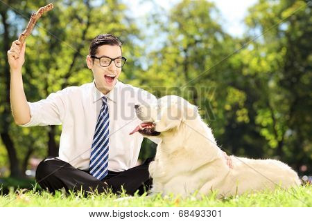 Guy with tie and glasses seated on a grass playing with labrador retriver dog in a park