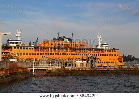 Staten Island Ferry docked at Whitehall Terminal in Manhattan