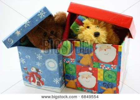 Stuffed bear toys together peaking out of Christmas box