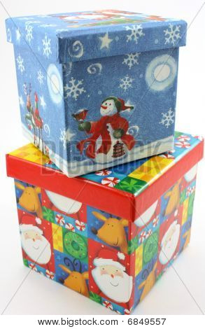 Christmas gift boxes blue and red stacked