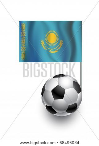 Illustration Of Soccer Balls Or Footballs With  Pennant Flag Of Kazakhstan  Country Team