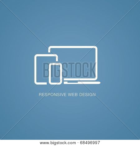 Vector illustration of responsive web design in laptop, tablet