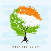 Beautiful tree with Indian trio colors leaves on blue background for 15th of August, Indian Independence Day celebrations.  poster