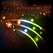Shiny waves in Indian National Flags colors on shiny brown background for 15th of August, Indian Independence Day celebrations.  poster