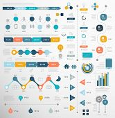 Set of Timeline Infographic Design Templates. Charts, Diagrams and other Vector Elements for Data and Statistics Presentation poster
