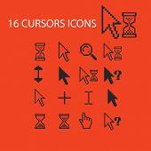 16 cursors, interface, arrows, select, modify icons, signs, symbols set, vector poster