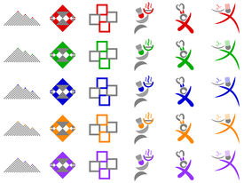 Chef And Abstract Squares Vector Icon Design Elements