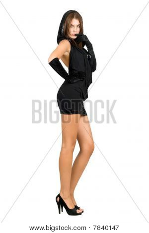 Sexy Leggy Young Woman In Black Dress