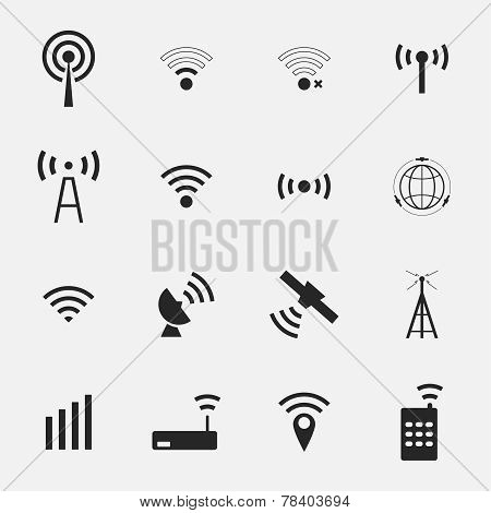 Set  different black vector wireless  and wifi icons
