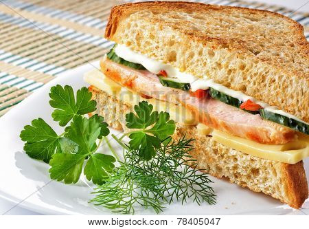 Sandwich With Chicken Cheese And Vegetables