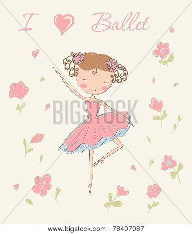 Ballerina With Flowers.