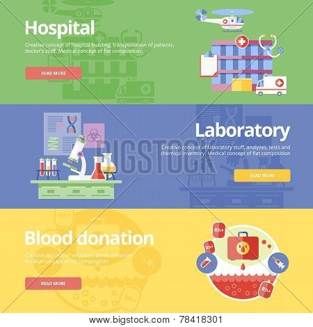 Set of flat design concepts for hospital, laboratory and blood donation. Medical concepts for web ba