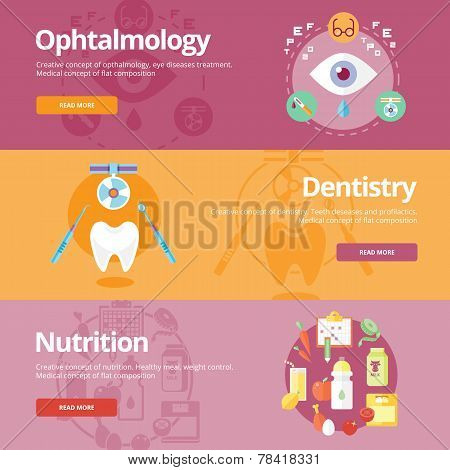 Set of flat design concepts for ophtalmology, dentistry, nutrition. Medical concepts for web banners