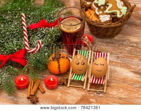 funny eggs, Christmas, mandarin, glogg and candles