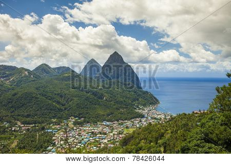 The town of Soufriere, St Lucia and the Pitons