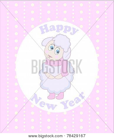 Little sheep New Year greeting card