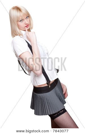 Sexy Schoolgirl Over White