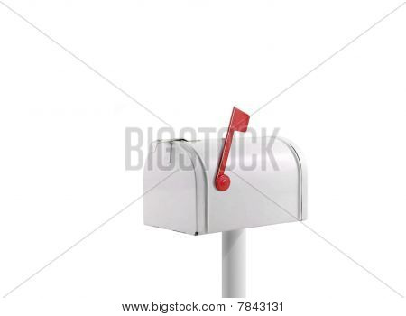 Image of white mail box over white poster