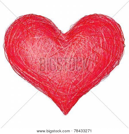 Heart Shape Composed Of Red Ribbons Isolated On White