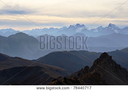Panorama Of The Alps At Sunset