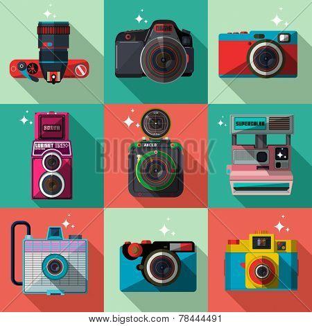 Vector 3D Flat Retro Cameras