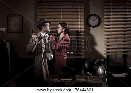 Passionate Vintage Couple With Gun