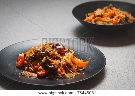 Glass noodles with mini corn and tomatoes poster