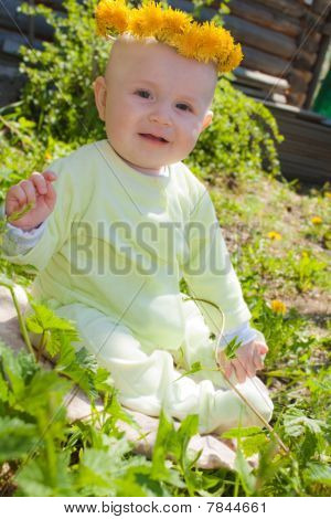 The baby of 7-8 months sits on a grass with a wreath from dandelions on a head
