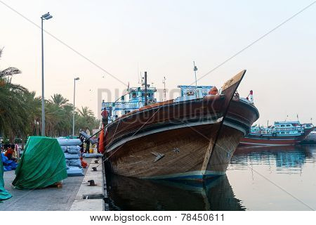 Traditional Arabic Dhows Wooden Boat Lading