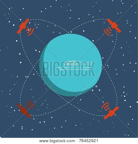 Planet in space with satellites transmit radio signals. Global connectivity technologies in the transmission of information. flat design. The orbit of a celestial body poster