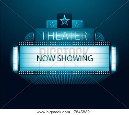 Vector now showing movie theater banner