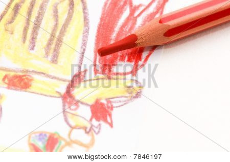 Pencil And Child Drawing. Animals