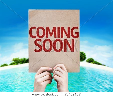 Coming Soon card with a beach background poster