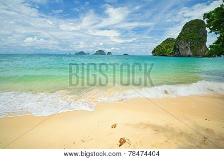 High tide during monsoon season in scenic Railey Bay Krabi Southern Thailand. poster