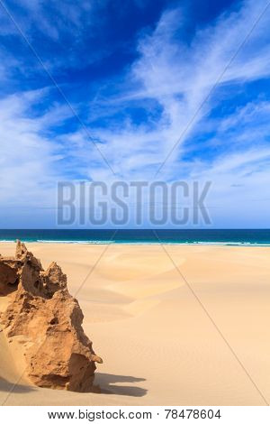 Sand Dunes Near To The Ocean With Cloudy Blue Sky, Boavista, Cape Verde