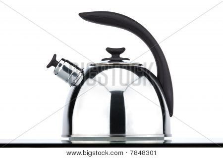 Chrome kettle with whistle