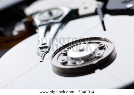 closeup of hard disk drive