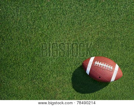 Football On Sports Turf Grass Angled Right