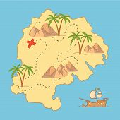 Hand drawn vector illustration - treasure map and design elements (mountains palm ship sea etc.) poster