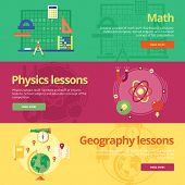 Set of flat design concepts for math, physics, geography. Concepts for web banners and print materials. poster