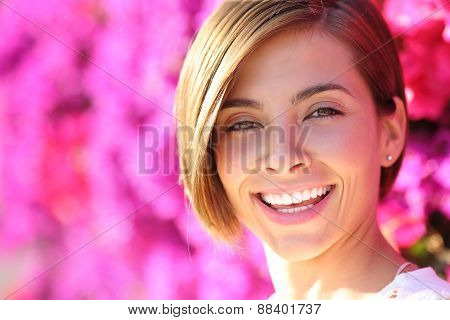 Beautiful Woman Smiling With White Perfect Teeth