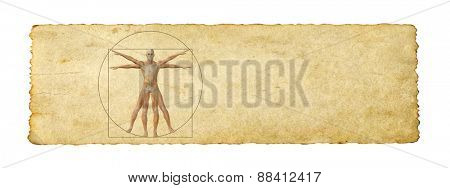 Concept or conceptual vitruvian human body drawing on old paper background banner poster