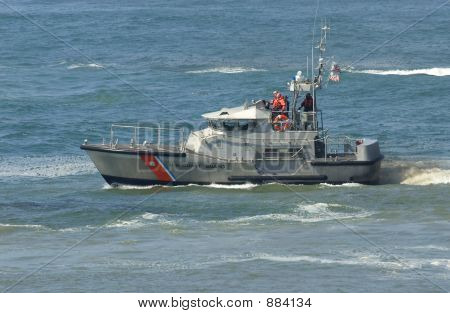 us coast guard boat at a rescue operation off the california coast poster