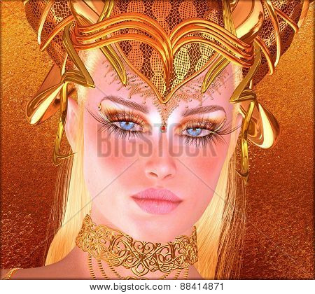 Woman with gold crown, necklace, eye makeup and matching abstract gold background.