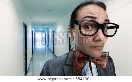 Scared office girl