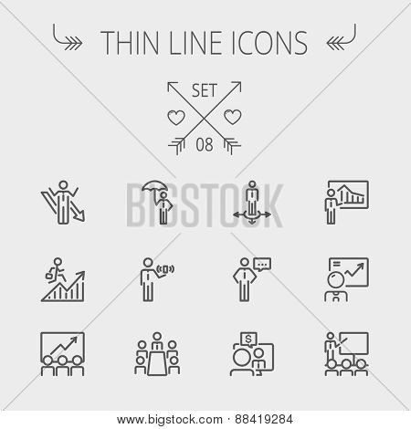 Business thin line icon set for web and mobile. Set includes- people, wifi, arrows, money, umbrella icons. Modern minimalistic flat design. Vector dark grey icon on light grey background.